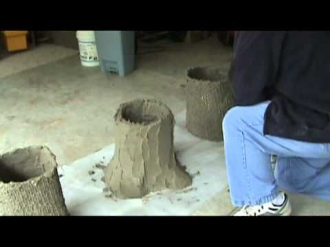 making a concrete bench part 1- A concrete bench is made with legs to look like tree stumps and the seat like a weathered wood plank. Though some would call this faux bois, it is not of artistic quality, but passes for wood. Part 1 shows how I make base and part 2 shows how to make the seat.