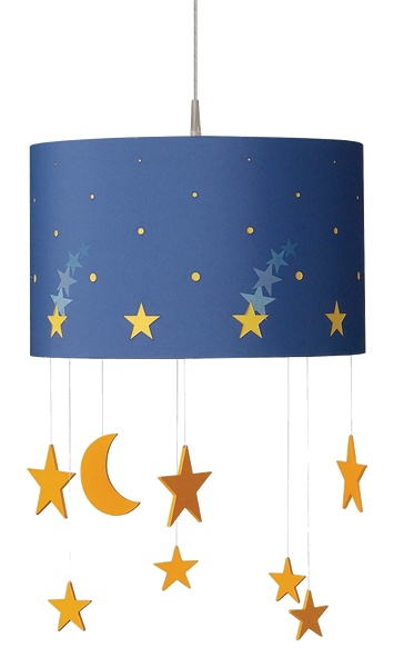The Starry Night suspension light is sure to put a smile on any sleepy face. Made with environmentally ethical wood, fabric, and child safe materials the light is 80-percent energy saving, can be hardwired or portable, and can be shortened to any desired height. $124.