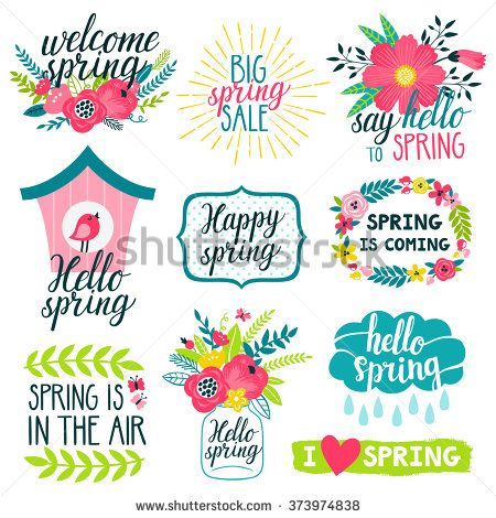 Vector set of beautiful labels with hand written phrases about spring, flowers, frames, wreathes, bird house, mason jar with bouquet, cloud and raindrops. All elements are isolated on white.
