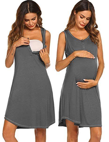 f42f6e4a5641 Sexyfree Women s Nightgown Cotton Sleep Shirt Scoopneck Sleeveless  Sleepwear (Dark Grey Small)