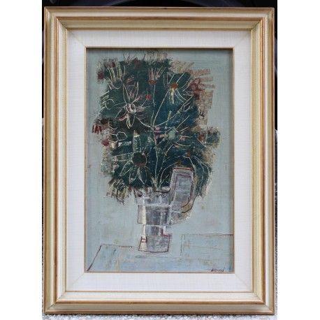 Dipinto olio su tela raffigurante un vaso con fiori realizzato e firmato nel '900 da Manlio Bacosi.