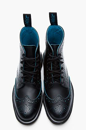 DR. MARTENS Black & Blue Leather Anthony Brogue Boots