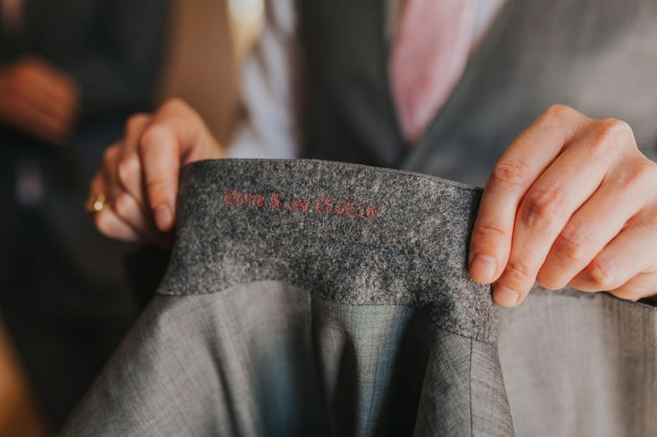 No excuse not to forget your anniversary now! Photo by Benjamin Stuart Photography #weddingphotography #weddingsuit #groom #embroidery #savethedate #weddingday #weddingdate