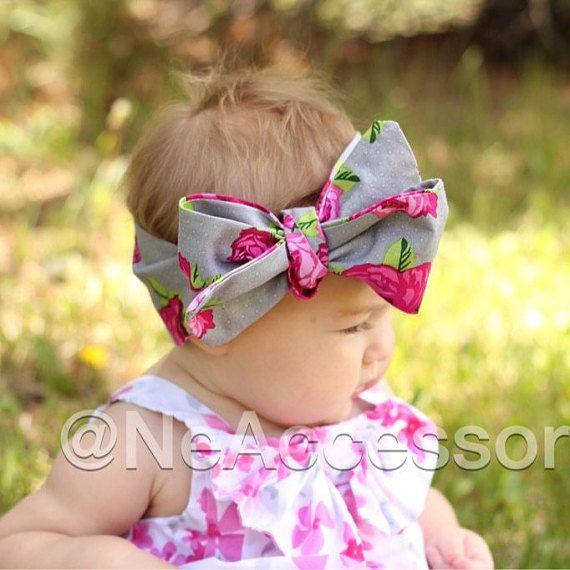 Baby Headwrap Floral Headwrap Retro baby head wrap by NeAccessory