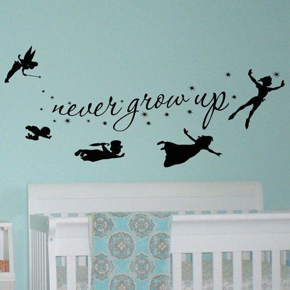 Peter Pan Children Flying Disney Silhouette Never Grow Up Quote Fantasy Fairytale Magic Tinkerbell- Wall Decals Nursery Decal For Kids Q036