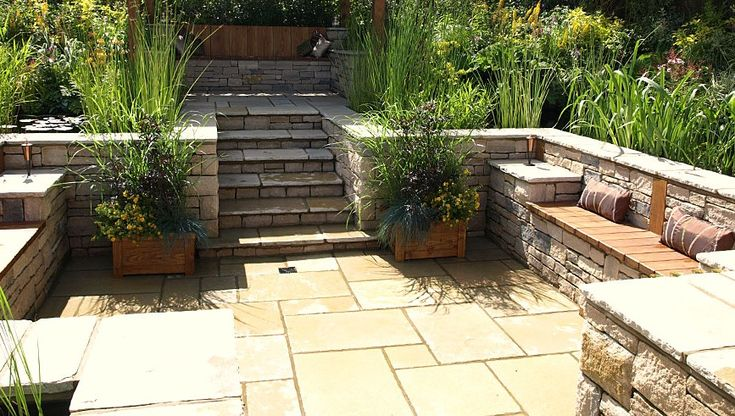 Beautiful Built In Seating For A Slope Patio | A Rustic U0026 Simplistic House |  Pinterest | Patios, Sunken Patio And Garden Ideas