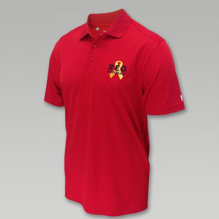 Wear red on Fridays to show your support and Remember Everyone Deployed. The Under Amour RED Friday Polo offers a new option for your Friday wardrobe. &nbsp  95% Polyester/ 5% Spandex Loose Fit HeatGear fabric keeps you cool dry and comfortable Moisture Transport System wicks sweat away 30 UPF protects your skin from the sun
