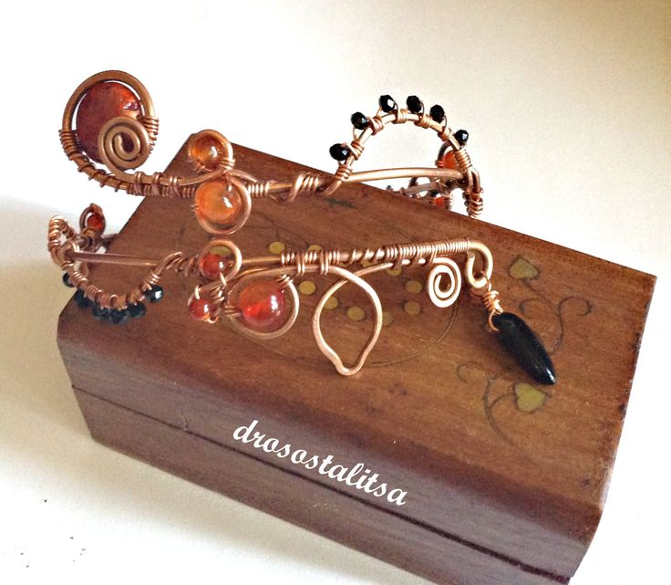 copper wire arm bracelet with jasper, agate and onyx beads