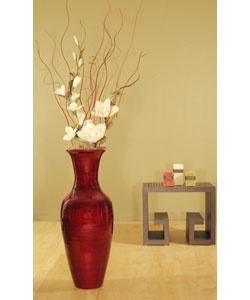bamboo floor vase and white magnolias jarrones
