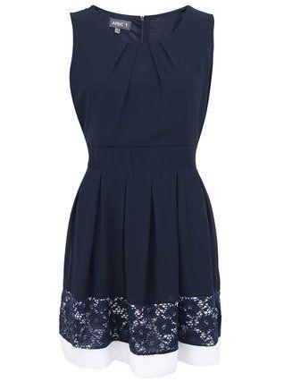Apricot - Tmavě modré šaty s bílým lemem - 1