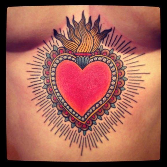 LOVE this solar plexus Sacred Heart tattoo!! #SacredHeart #tattoo #traditional…