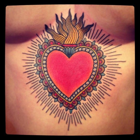 LOVE this solar plexus Sacred Heart tattoo!! #SacredHeart #tattoo #traditional #LOVEthissomuch