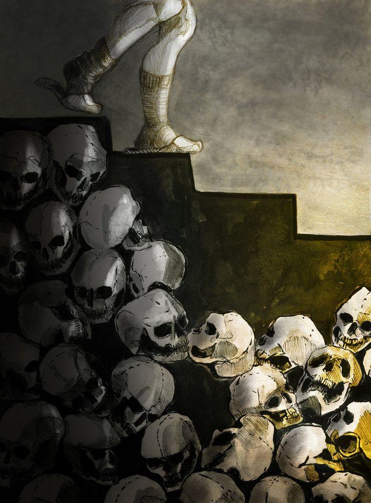 """month of fear - skulls and starirs"" - artwork by eileen marie tretter - sashura art"