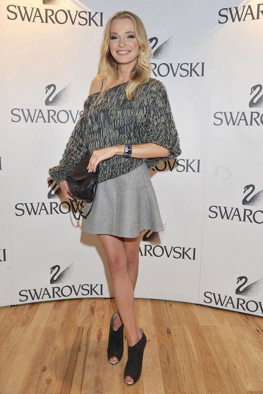 Agnieszka Cegielska wearing Łukasz Jemioł sweater and skirt, Bohoboco shoes and Mulberry bag
