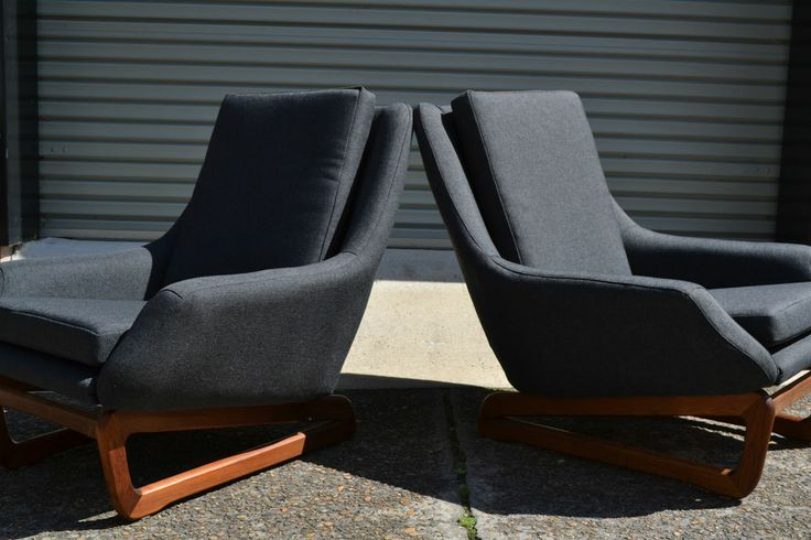 retro, vintage, Pair of DANISH DELUXE armchairs, danish style, parker era, 60's. Beachcomber Graphite fabric