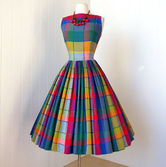 Wow...vintage 1950's dress ...best ever PARADE NEW YORK primary madras plaid full skirt plunging back pin-up party dress w/crinoline.