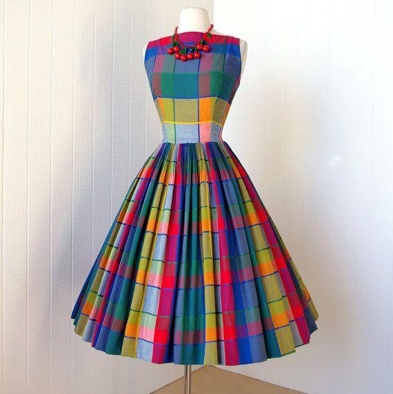 #dress #1950s #partydress #vintage #frock #retro #sundress #teadress #petticoat #romantic #feminine #fashion #plaid #gingham #checkered