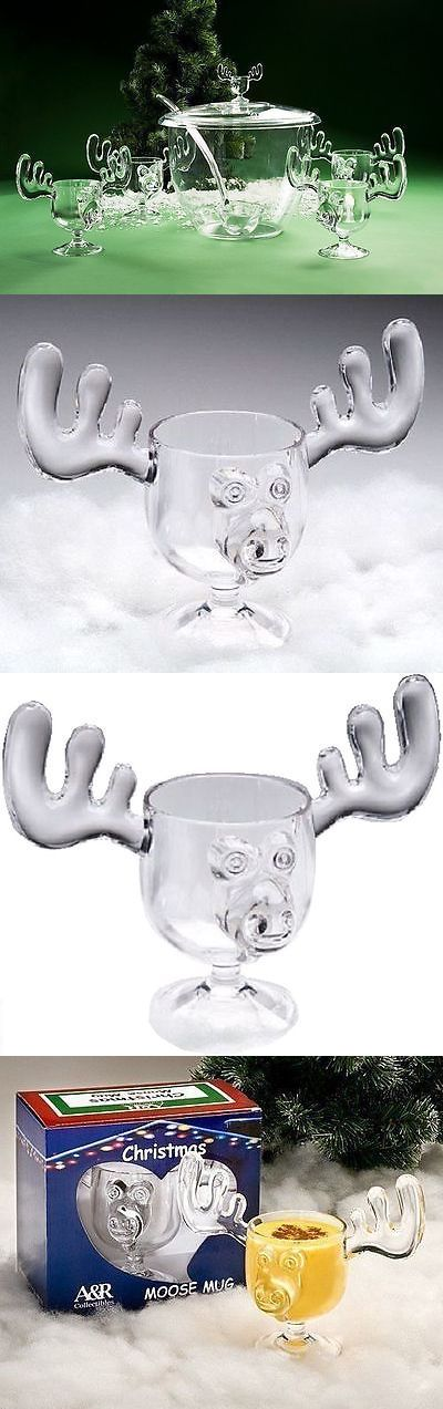 Table D cor and Serving Pieces 52347: Christmas Moose Mug Punch Bowl Set With 6 Moose Mugs - Safer Than Glass -> BUY IT NOW ONLY: $129.95 on eBay!