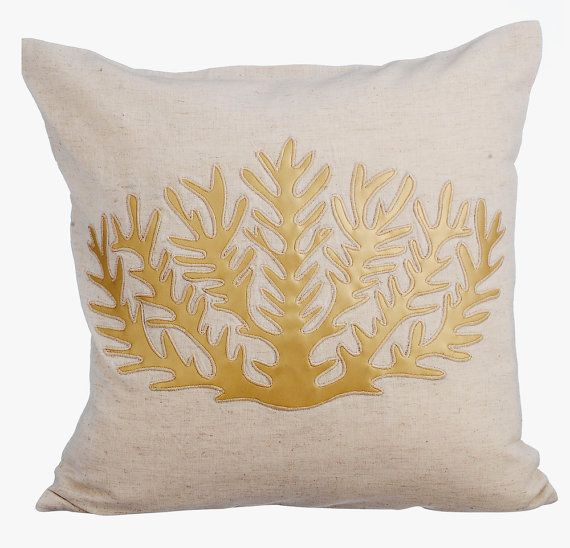 Gold Sea Weeds - 16x16 Gold Leather Applique Natural Linen Pillow Cover.