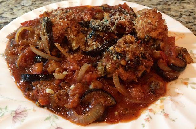 Sicilian Turkey Meatballs with Eggplant Ragù