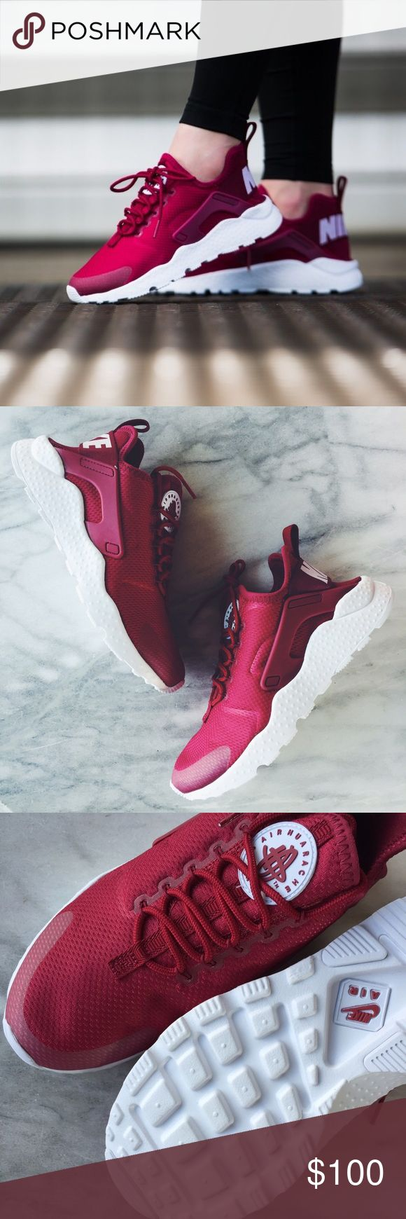 "Nike Air Huarache Ultra Sneakers •The Nike Air Huarache Ultra Women's Shoe is crafted with a stretchy one-piece upper, seamless molded details and an ultra-lightweight outsole for a streamlined look and easy packing into your bag. Color is ""Noble Red"" •W"