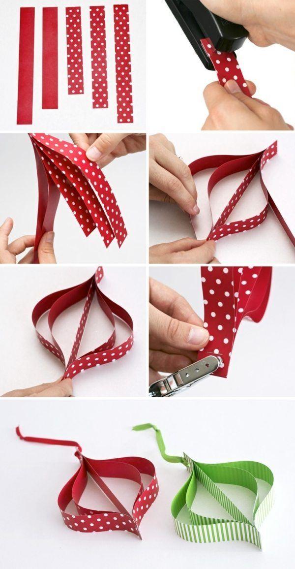 comment faire des ornements en papier rouge et vert pour la fête de Noël