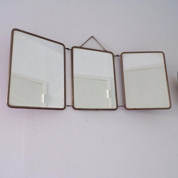 Triptych tri fold mirror vintage barber bathroom 1960 - back bordeaux - tri fold…