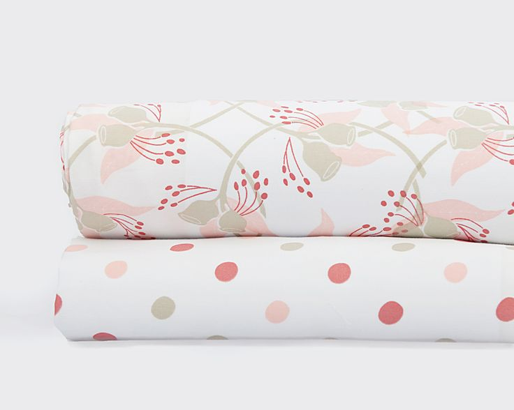 Our beautiful Gumnut Fitted Sheet Set will help make any nursery pretty. With one sheet in our original Gumnut design and one in the sweet Spotty design, this set of coral pink fitted sheets will fit a standard or Boori cot. Our specially designed Spotty drawstring bag will also help you carry all the things that your little gumnut needs.  http://www.wholesalebaby.com.au/Product-fitted-cot-sheet-set-gumnut-1175.aspx