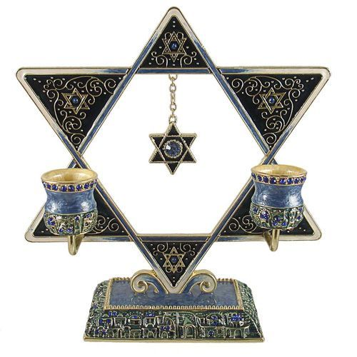 Artistique Design Enamel Jeweled Star of David Sabbath Candle Holder Judaica Gifts
