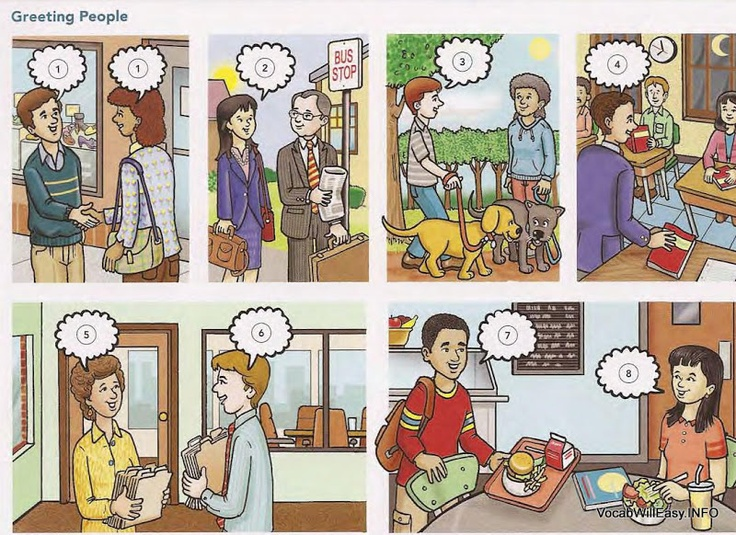 Everyday conversation. Draw a card and make conversation with your partner (each of you is one person or the other). Requirements: Greet, Small Talk, and Say Goodbye. Great for novice learners!