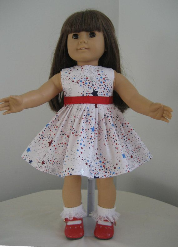 Doll Clothes-Made For AMERICAN GIRL DOLL, Patriotic Dress Red, Blue & Silver Stars fits American Girl Dolls