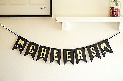 Cheers banner, New years decoration, holiday party decoration, birthday decoration.