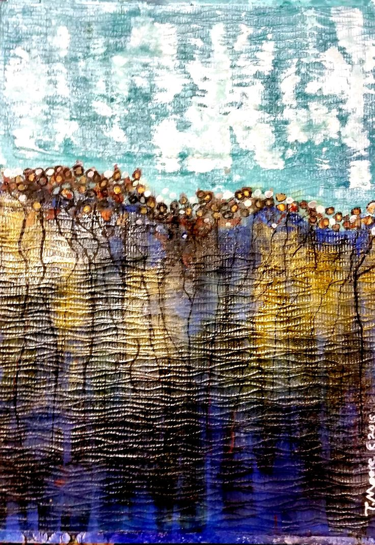 "Encaustic Painting called: ""AT THE EDGE"" FOR SALE: $450."