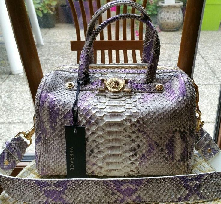 Sac bowling cuir python lilas Versace ludo : Coups de Coeur : Achetez des articles de luxe neufs certifiés