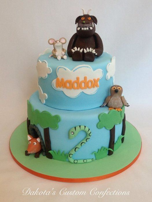 Gruffalo birthday cake made for my adorable little nephew!  The characters and decorations are made from fondant.