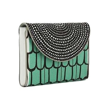 turquoise and silver clutch