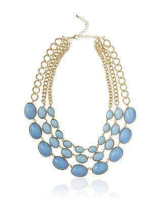 Kenneth Jay Lane Blue Triple-Row Necklace