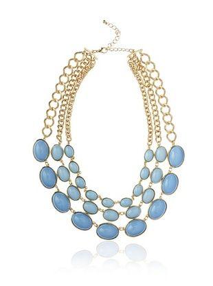 Kenneth Jay Lane Blue Triple-Row Necklace