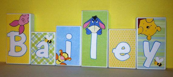 Personalized Wood Blocks - Baby Room Custom Names - M2M Disney Babys Peeking Pooh & Friends Bedding - Baby Name Letter Blocks via Etsy