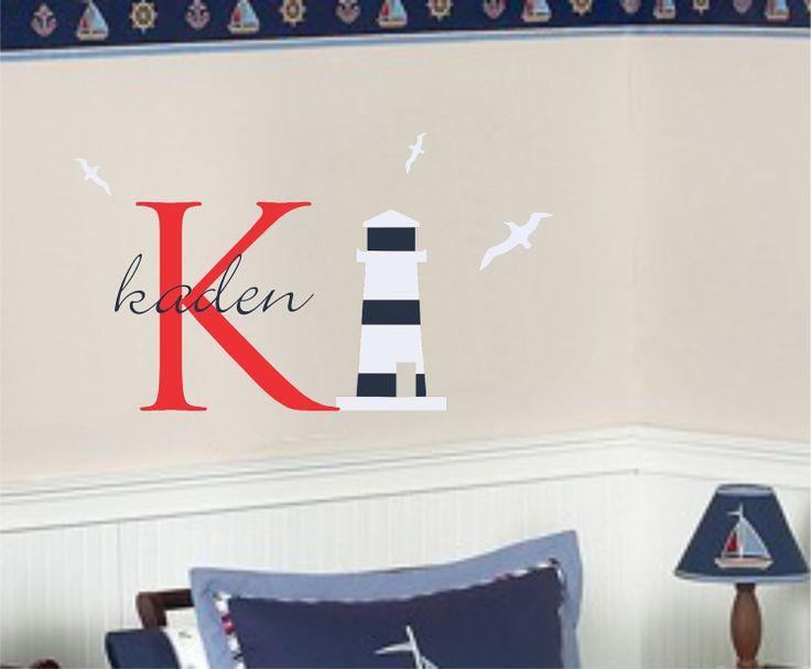 Nautical Name Lighthouse Wall Decal Boy Girl Nursery Decor. $29.00, via Etsy.