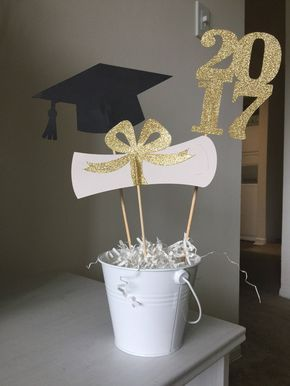 2017 2018 Graduation centerprice . Graduation Centerpiece Sticks 2017 Grad Cap Diploma Class of '17 Graduation Party Decor class of '18 de Party14ByBELLA en Etsy