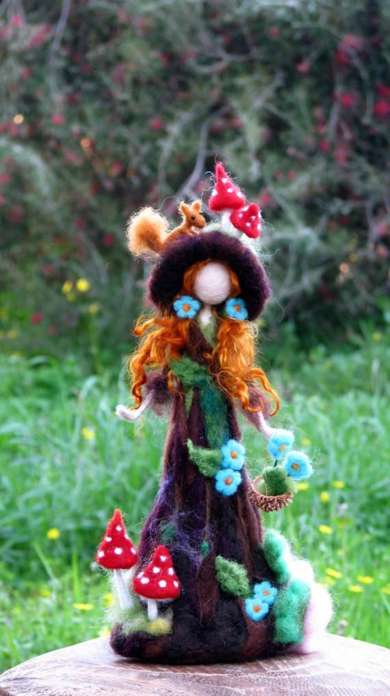 Aguja fieltro árbol tutor waldorf inspirado muñeca arte