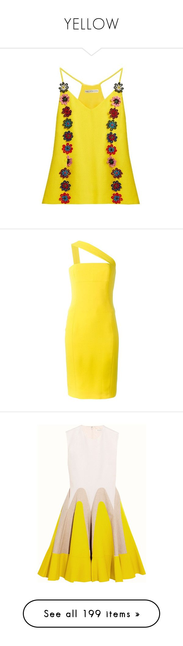 """""""YELLOW"""" by atamis ❤ liked on Polyvore featuring tops, yellow multi, yellow cami, lace camis, floral tank top, camisole tank top, lace camisole, dresses, yellow and one shoulder dress"""