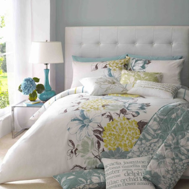 Yellow Grey Blue Bedding