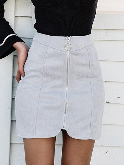 38c6e9c6c88e Gray Faux Suede High Waist Circle Zip Front Mini Skirt – risechic.com