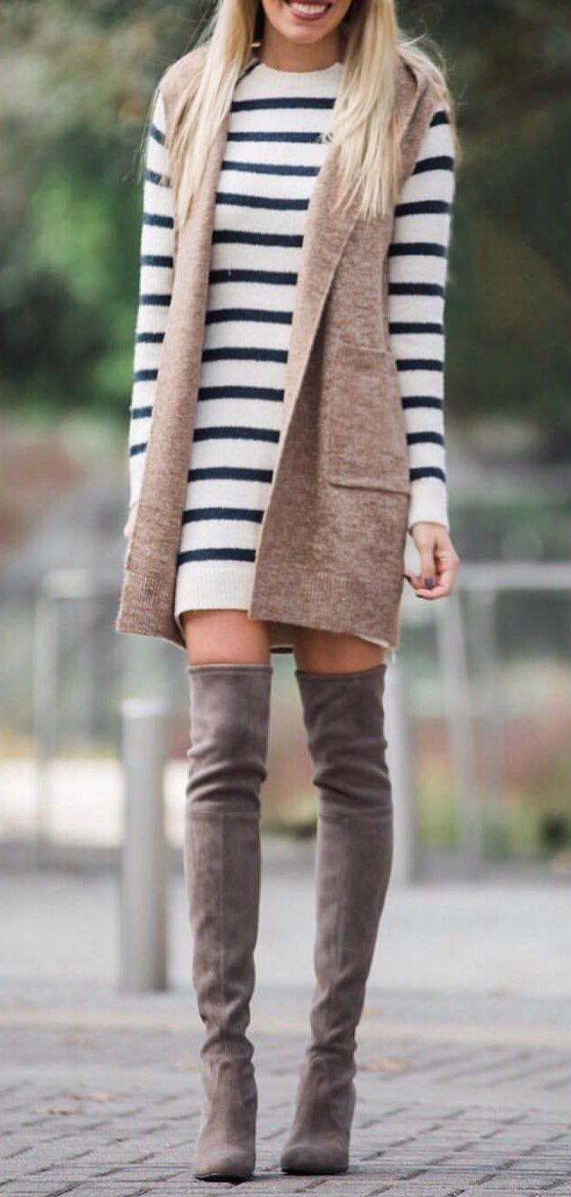 #winter #outfits women's white and black striped long-sleeve knitted dress. Click To Shop This Look.