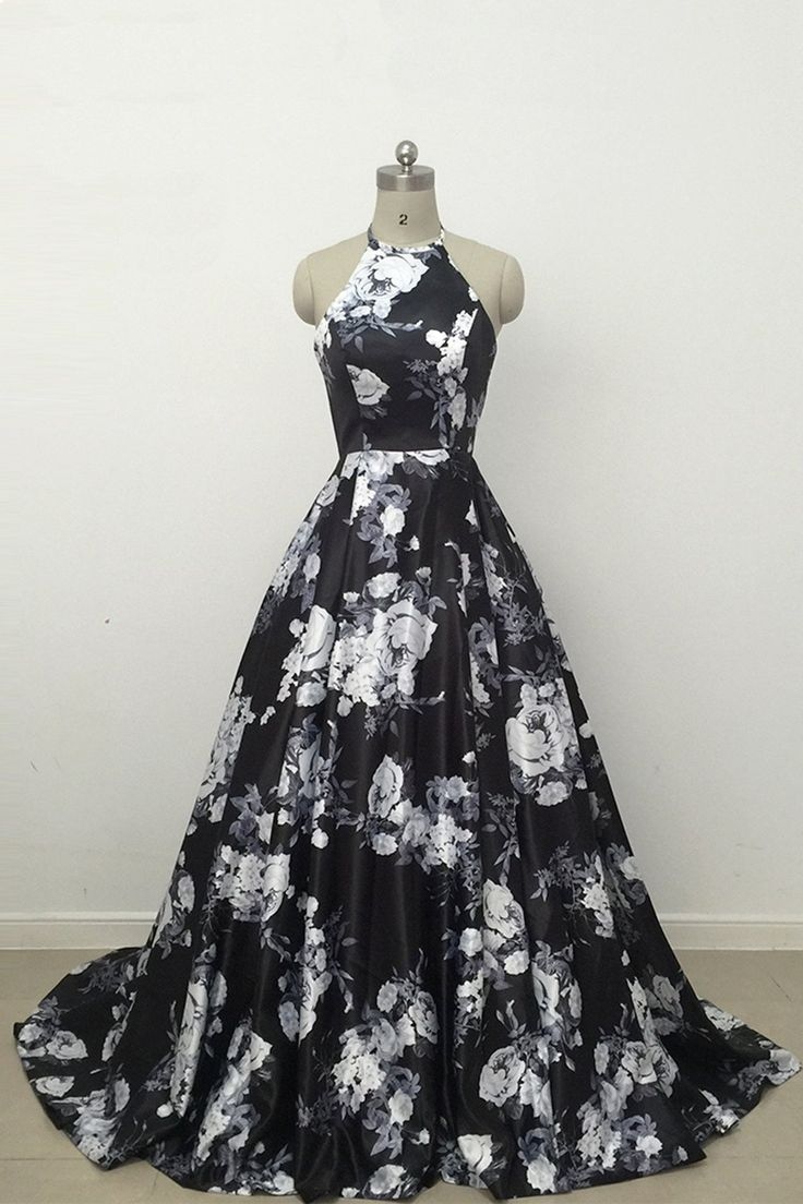Cute Black and White Floral Satin Halter Vintage Print A-Line High Waisted Prom Dresses uk