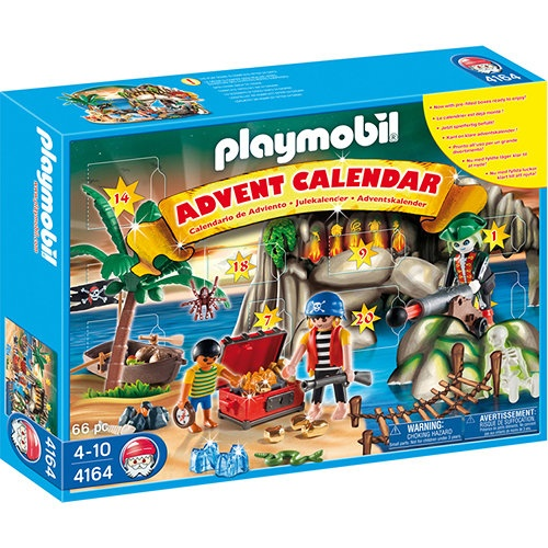 Playmobil Pirates' Treasure Cove Christmas Advent Calendar: Twenty-four surprise items help you count down the days till Christmas! Includes a pirates treasure cove backdrop, three figures, cannon, boat, palm tree and many other accessories.  http://www.calendars.com/Playmobil/Playmobil-Pirates-Treasure-Cove-Christmas-Advent-Calendar/prod201300007620/?categoryId=cat1140004=cat1140004#