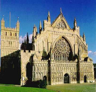Exeter Cathedral in Devon, England was begun in the 11th century.