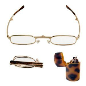 Super-Compact Folding Reading Glasses - Hard Pocket Case - 1.00X to 3.25X - Gold Metal Frame Power: 3.25 Diopter by AP. $7.98
